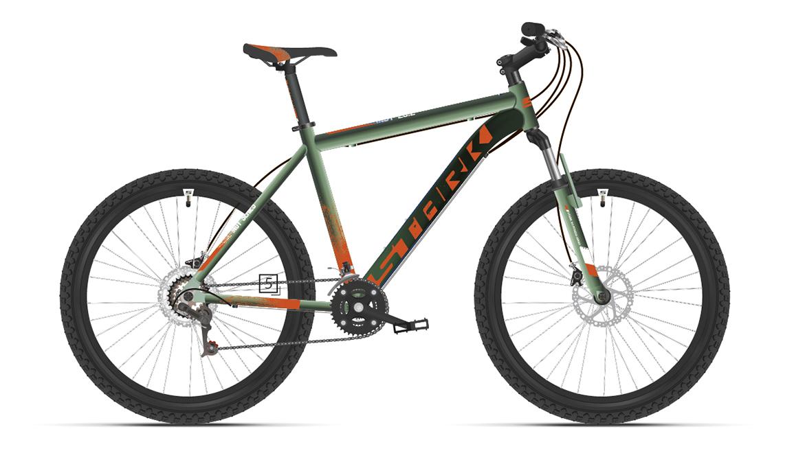 Велосипед Stark'21 Indy 26.2 D зеленый/оранжевый 16