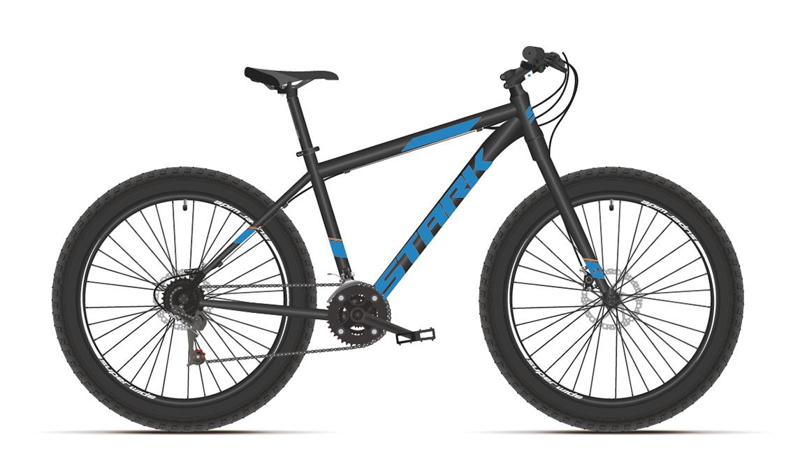 Велосипед Stark'21 Fat 26.2 D черный/голубой 18